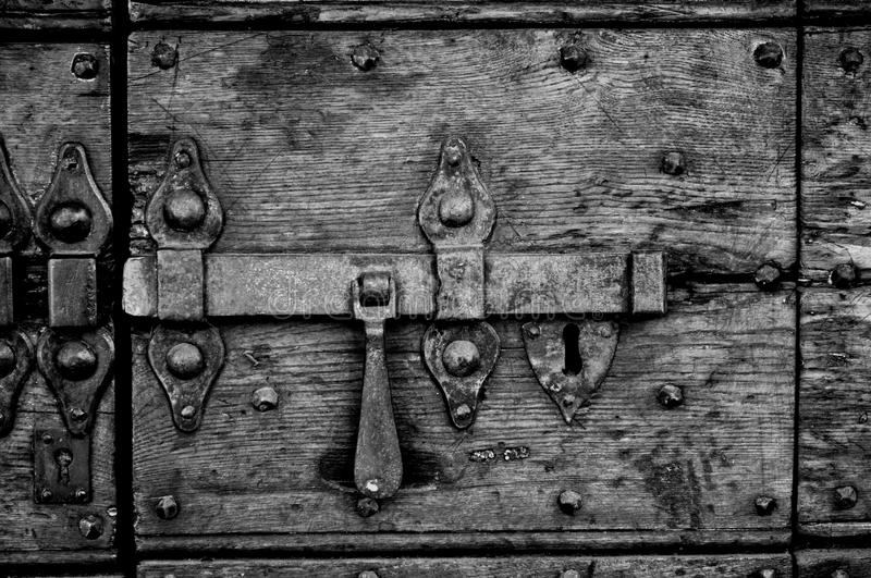 Metal heavy lock BW stock photo