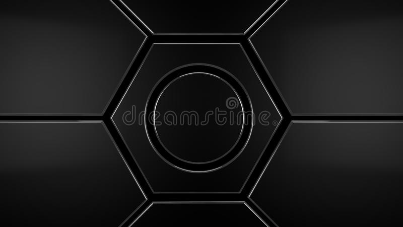 Metal hexagon futuristic modern background, 3d render. Illustration royalty free illustration