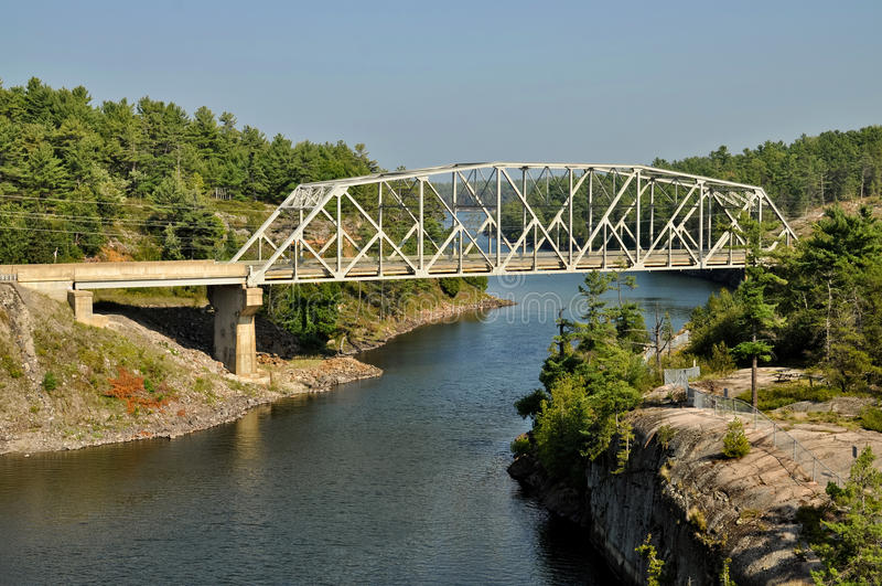 Metal highway bridge royalty free stock photos