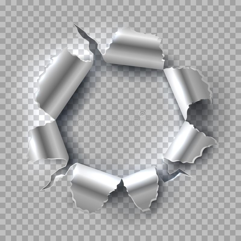 Metal hole. Exploding steel with torn, ripped edges isolated on transparent background. Vector grunge background stock illustration
