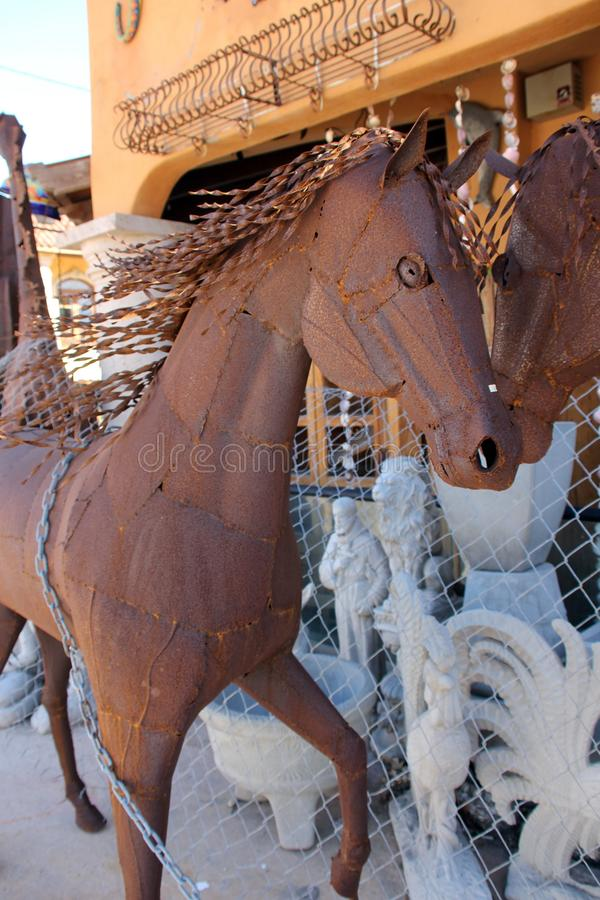 Metal Artwork on display street side in Puerto Penasco, Mexico stock images