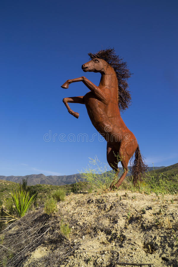 The metal horse. The metal horse on the California desert hilltop near Temecula, Califor stock photos