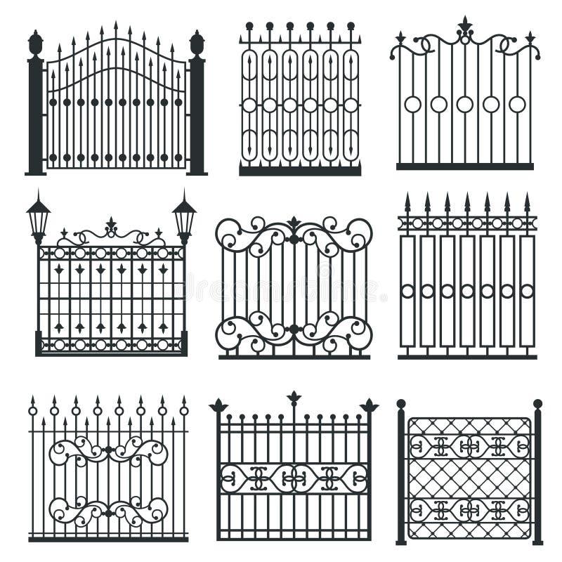 Metal i portoni del ferro, le griglie, insieme di vettore dei recinti illustrazione di stock