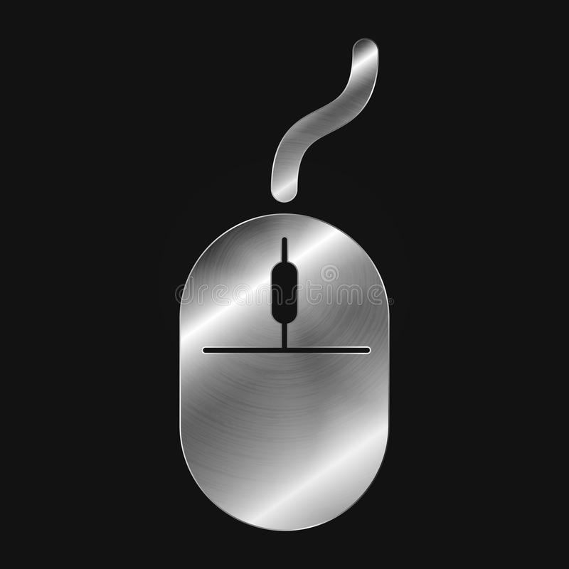 Metal icon - mouse. Vector - eps 10 royalty free illustration