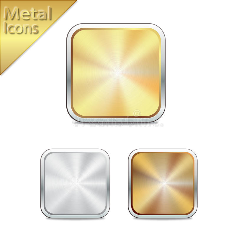 Silver Color Metal Jali Pattern : Metal icons gold silver bronze stock photos image