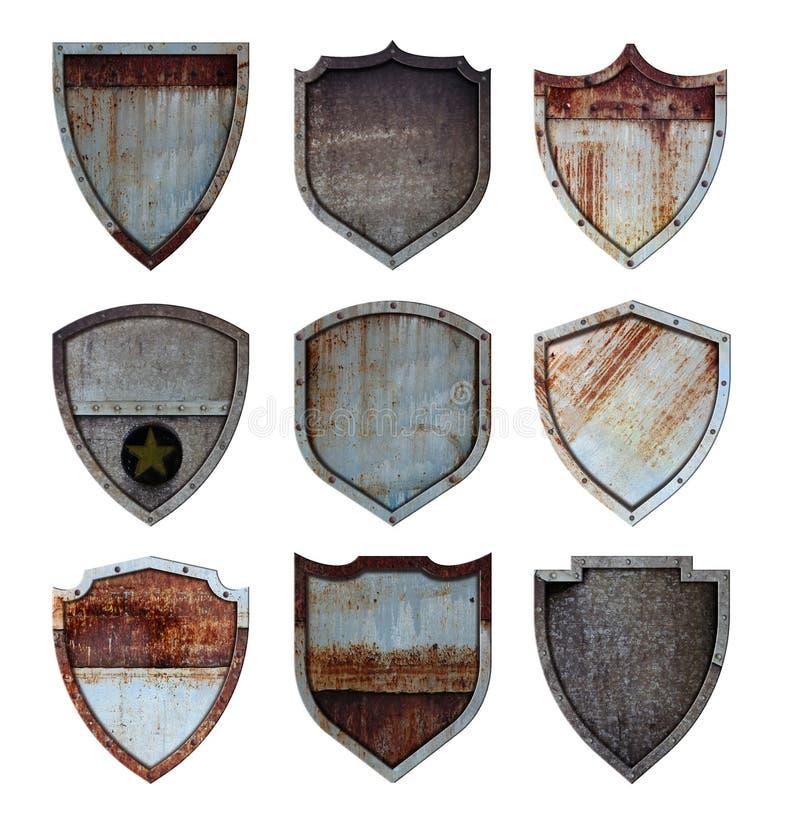 Metal ikon znaka osłona ochraniający stalowy set royalty ilustracja