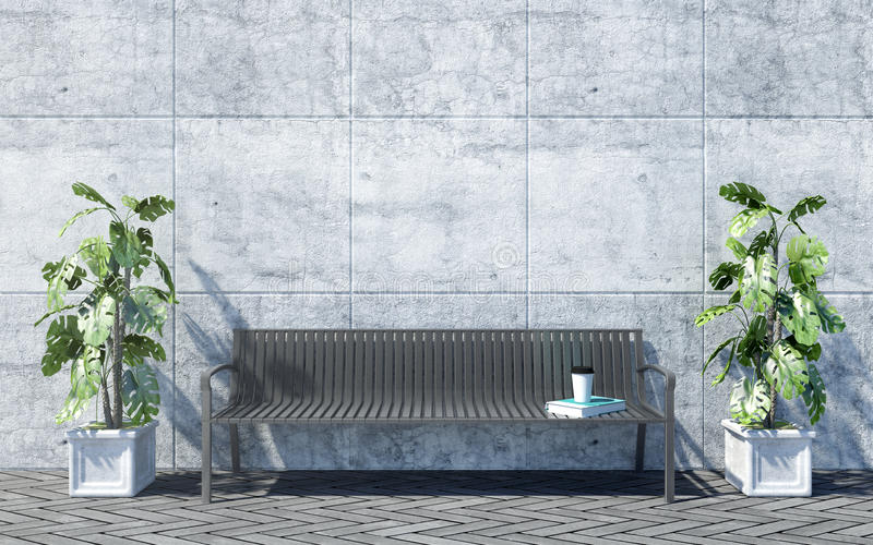 Metal il banco all'aperto con le piante decorative sul fondo luminoso del muro di cemento, esterno all'aperto immagine stock
