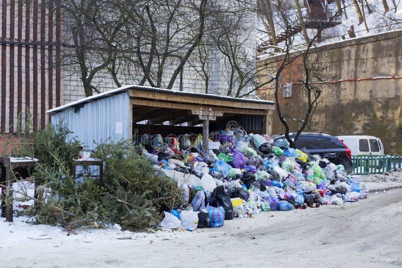 Metal il capannone ed i bidoni della spazzatura coperti di grande immondizia del mucchio fotografia stock libera da diritti