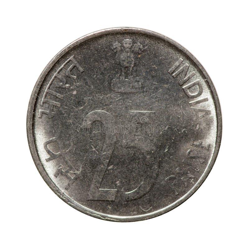 Metal il paise India della moneta venticinque isolata su fondo bianco fotografie stock