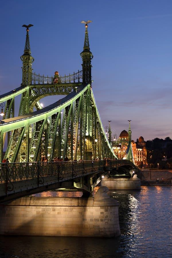 Metal il ponte openwork della libertà nella vista di notte di Budapest fotografie stock libere da diritti