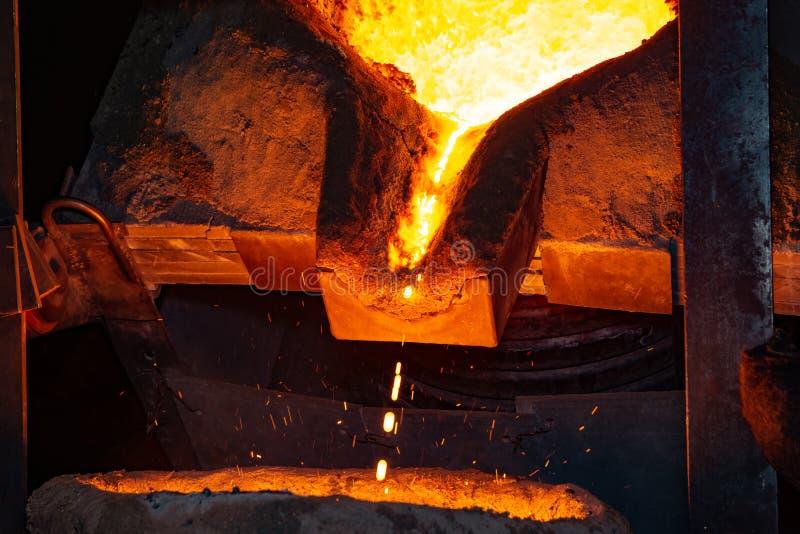 Metal il processo della colata con fuoco ad alta temperatura nella fabbrica della parte di metallo fotografie stock libere da diritti