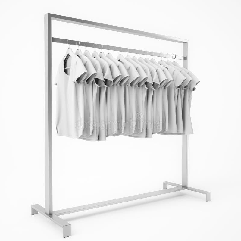 Metal il supporto con le magliette bianche in bianco appendere, isolata su fondo bianco illustrazione di stock