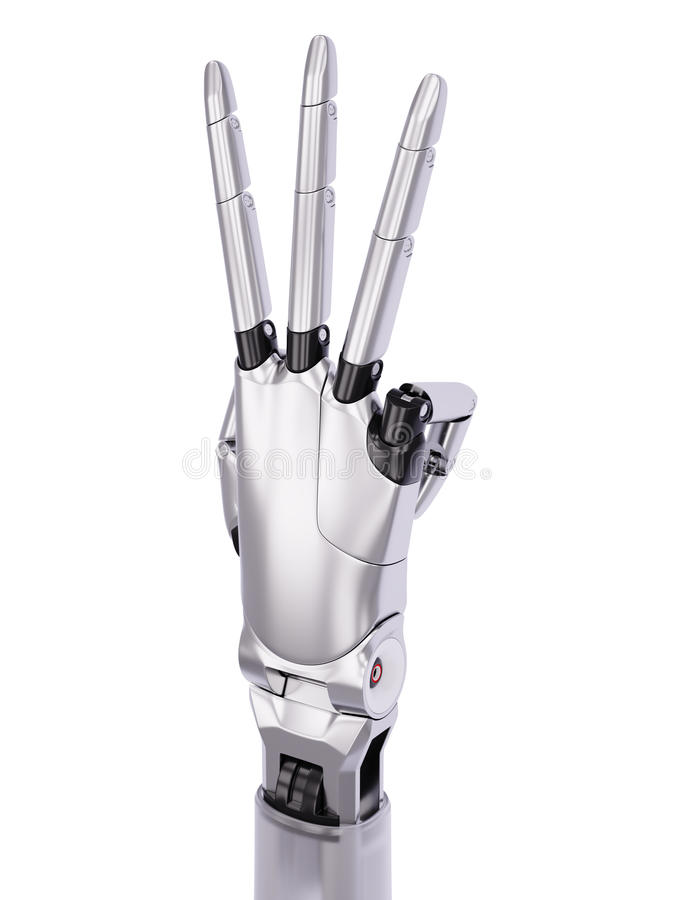 Metal a ilustração 3d gesticulando do número três lustrosos da mão de Android ilustração do vetor