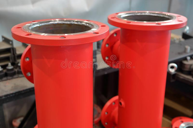 Metal industrial blanks. Massive steel blanks for the pipeline industry and pumps stock image