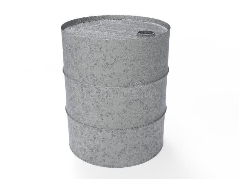 Metal Industrial Oil Barrel 3D rendering royalty free illustration
