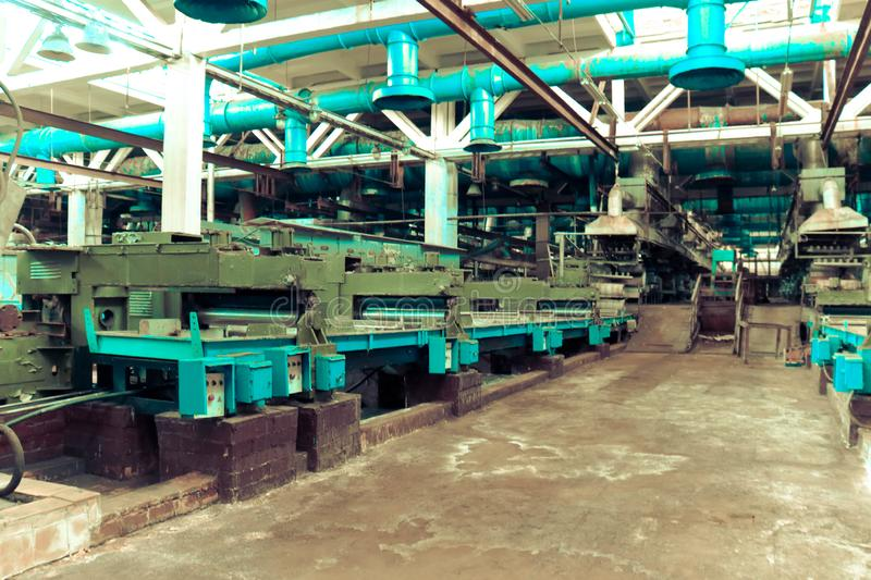Metal industrial powerful equipment of the production department at the machine-building oil refining, petrochemical, chemical stock photography