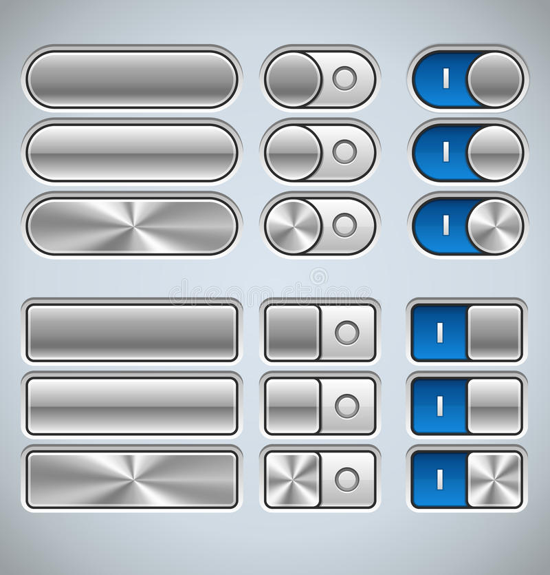 Metal Interface Elements. Vector Metal Interface Elements for Web and Mobile stock illustration