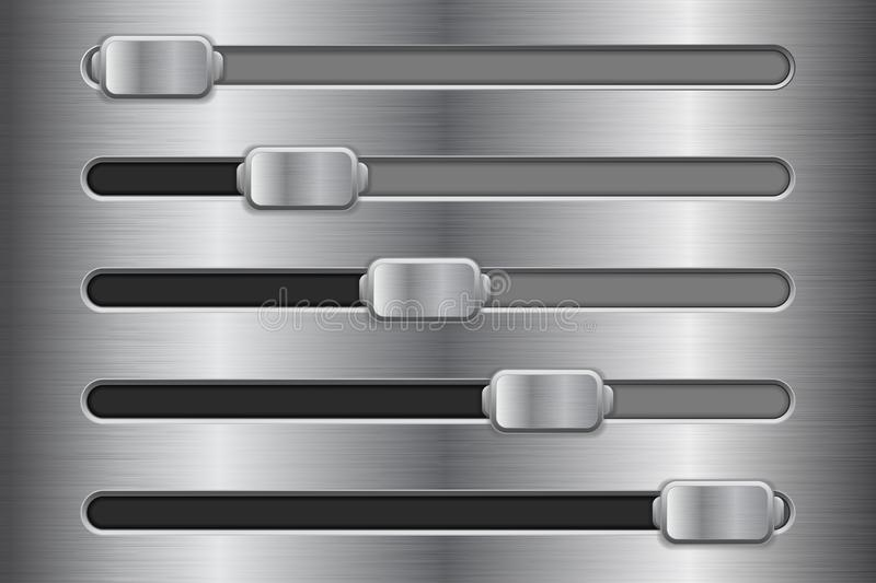 Metal interface slider buttons. Vector 3d illustration stock illustration