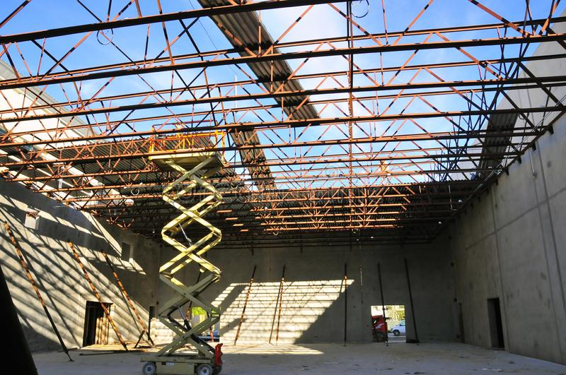 Metal joists and deck roof installation stock photos
