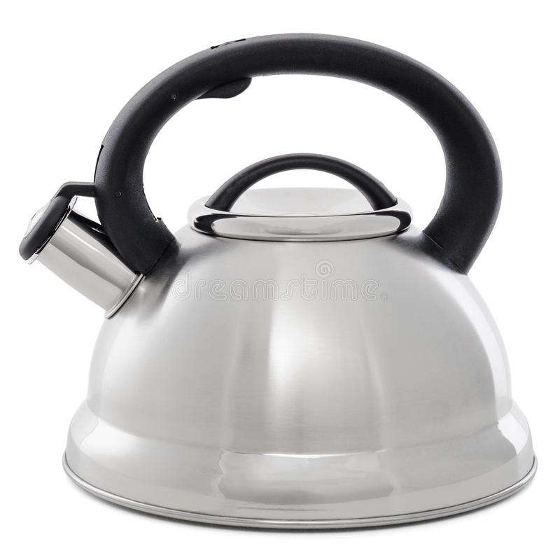 Metal kettle with whistle isolated on white background. Kettle with black plastic handle royalty free stock photography