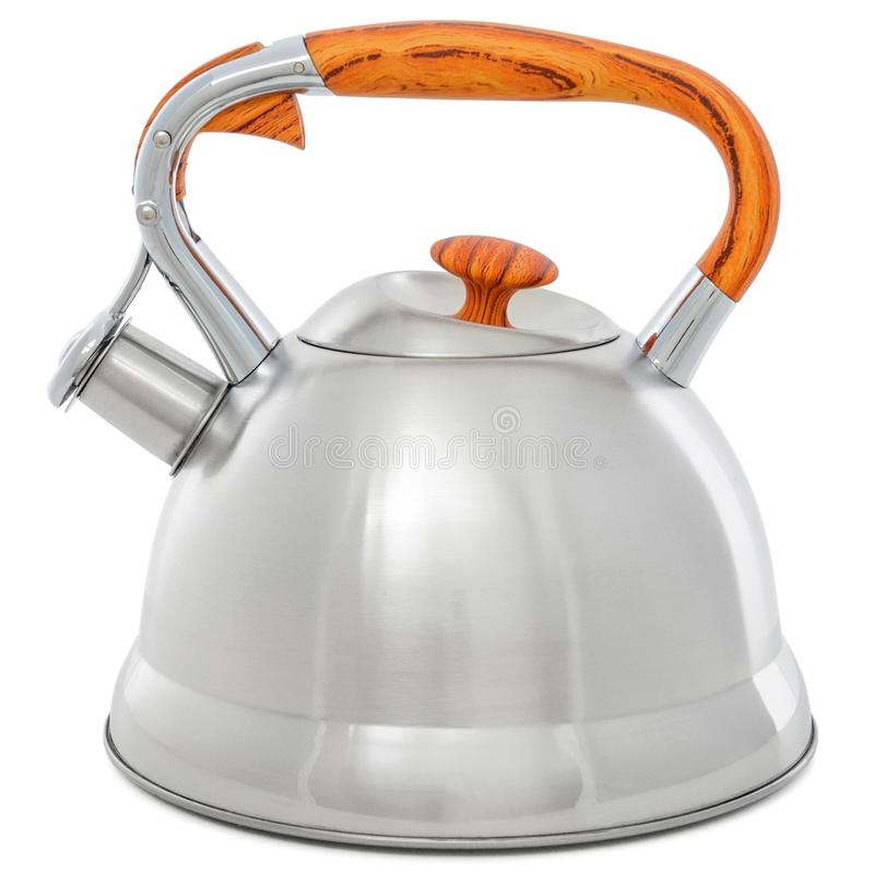 Metal kettle with whistle isolated on white background. Teapot with wooden handle stock image