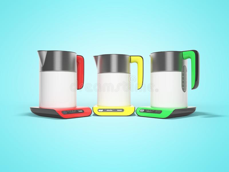 Metal kettles with electronic console with buttons 3d render on blue background with shadow. Metal kettles with electronic console with buttons 3d render on blue royalty free illustration