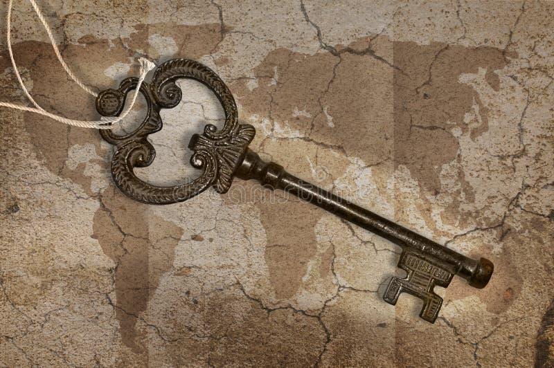 Metal Key On Map Stock Photo
