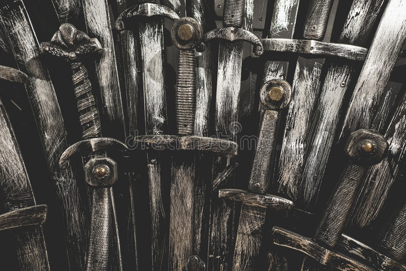 Metal knight swords background. Close up. The concept Knights stock images