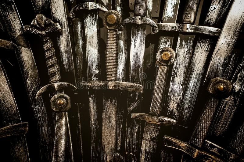 Metal knight swords background. Close up. The concept Knights. Metal knight swords background. Close up stock image