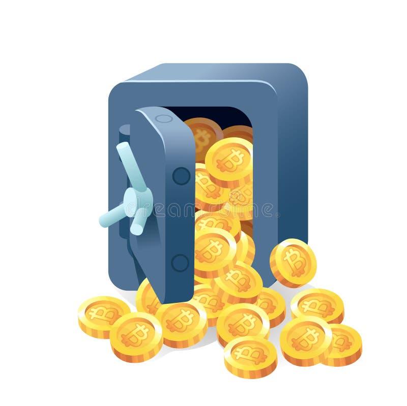 Metal l'icône sûre de vecteur de banque dans un style plat illustration stock