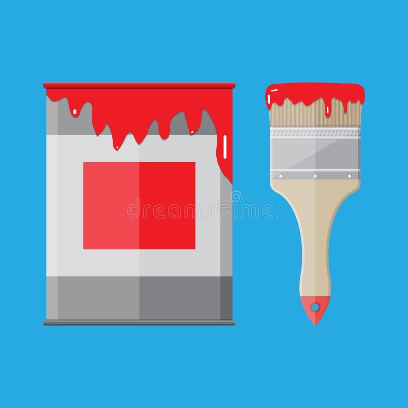 Metal la boîte en fer blanc avec la peinture et le pinceau rouges illustration stock