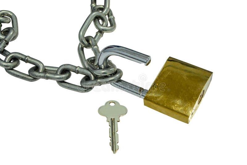 Metal la chaîne et ouvrez le cadenas sur le fond blanc photos libres de droits