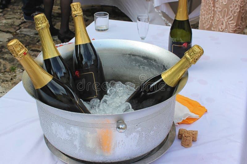 Metal la ciotola riempita di bottiglie di vino e del ghiaccio fotografia stock