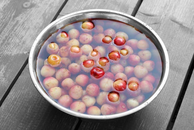 Metal la cuvette avec les cerises colorées dans l'eau sur le backgr en bois de table photos libres de droits