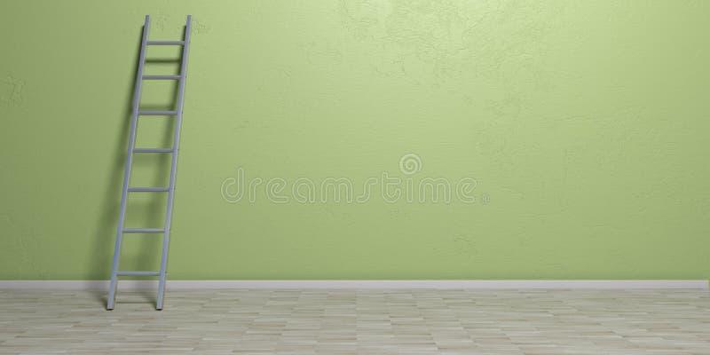 Metal la escalera que se inclina contra una pared verde, copie el espacio ilustración 3D libre illustration
