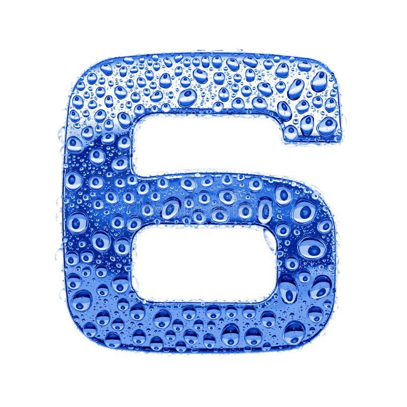 Metal la lettera & innaffi le gocce - la cifra 6 fotografie stock