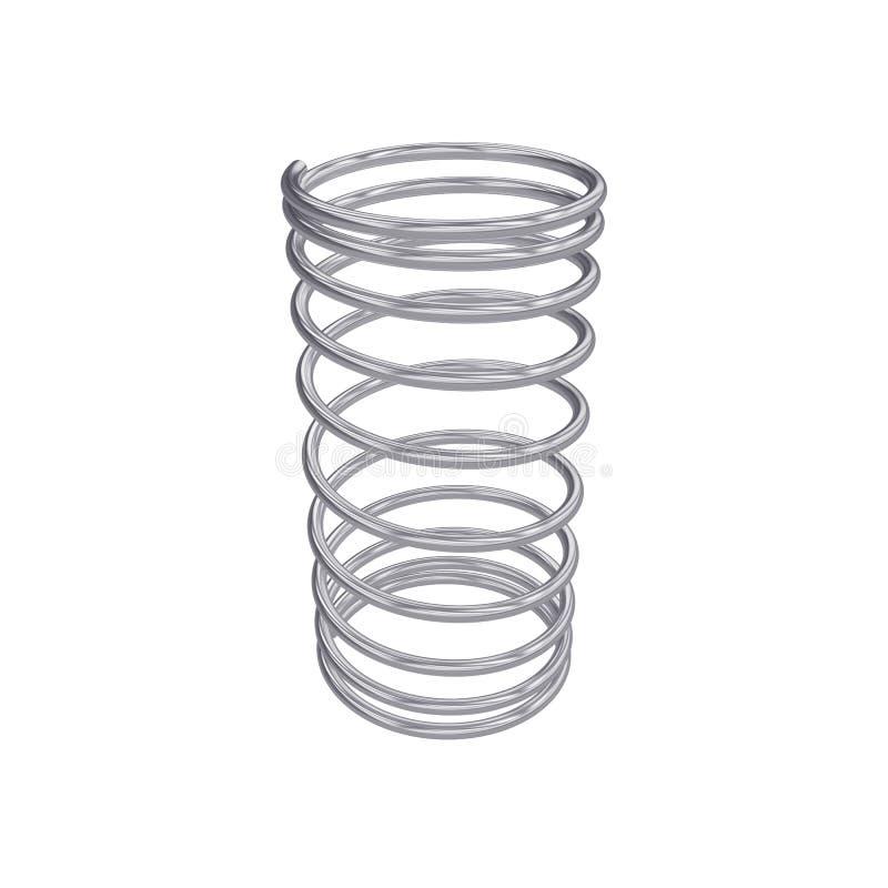 Metal la molla isolata su bianco, la rappresentazione 3D illustrazione di stock