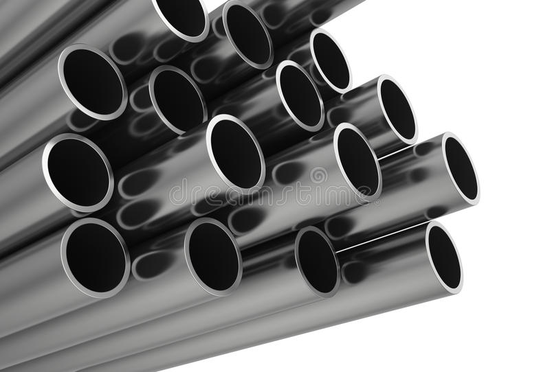 Metal la pipe D'isolement sur le fond blanc illustration libre de droits