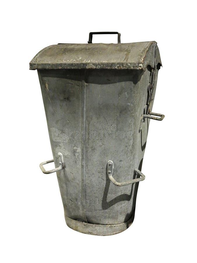Metal la poubelle de récipient de déchets d'isolement sur le fond blanc image libre de droits