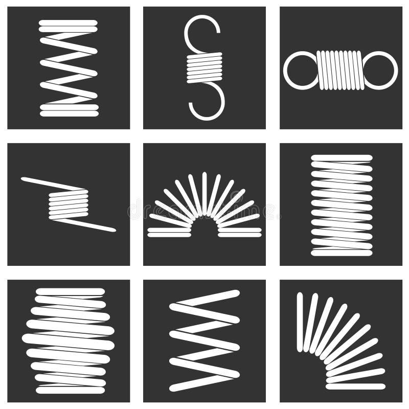 Metal la primavera, un sistema de primaveras del metal blanco contra un fondo negro Primavera blanca en una casilla negra stock de ilustración
