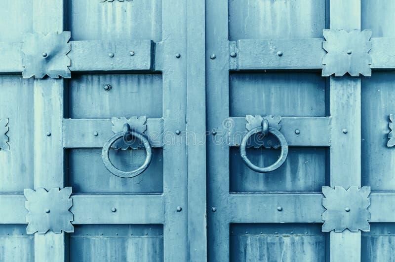 Metal la puerta texturizada envejecida gris con los tiradores de puerta de los anillos y los detalles del metal en la forma de fl imagen de archivo libre de regalías
