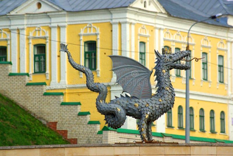 Metal la sculpture de Zilant, le symbole officiel de Kazan photos stock