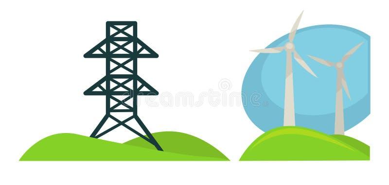 Metal la tour pour des fils et des générations de vent sur le champ vert illustration stock