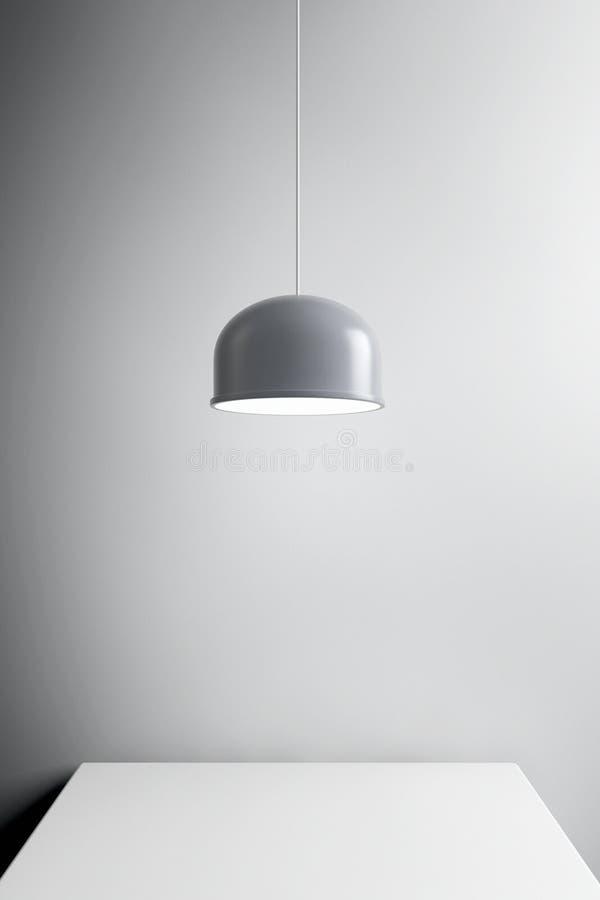 Metal Lamp over Table. 3d Rendering. Metal Lamp over Table extreme closeup. 3d Rendering vector illustration