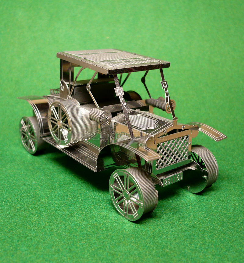 Metal large-scale model of the old car. royalty free stock images
