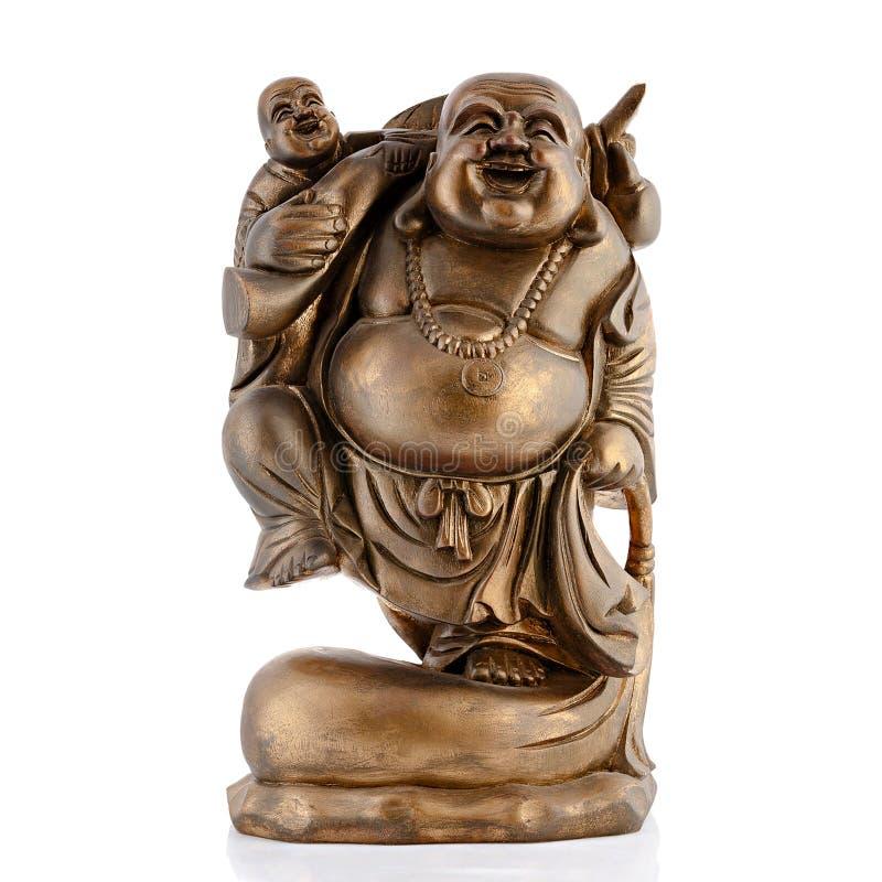 Metal las estatuillas, estatuillas decorativas, Buda, monje, fondo blanco imagenes de archivo