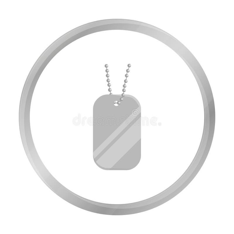 Metal las etiquetas que cuelgan en un monocromo de cadena del icono Solo icono de la munición grande, brazos del arma fijados stock de ilustración