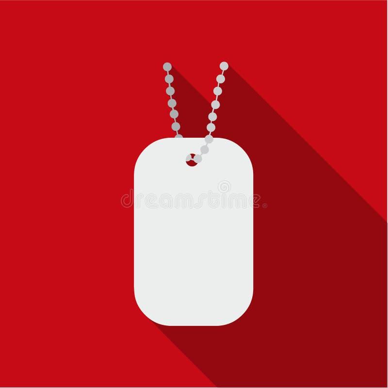Metal las etiquetas que cuelgan en un plano de cadena del icono Solo icono de la munición grande, brazos del arma fijados ilustración del vector