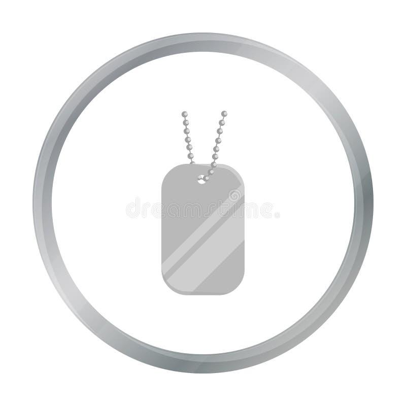 Metal las etiquetas que cuelgan en una historieta de cadena del icono Solo icono de la munición grande, brazos del arma fijados libre illustration