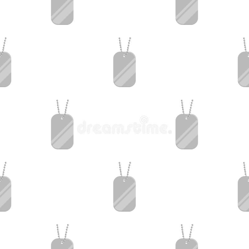 Metal las etiquetas que cuelgan en una historieta de cadena del icono Solo icono de la munición grande, brazos del arma fijados stock de ilustración